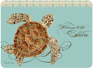 """""""Welcome To The Shore"""" Turtle Neoprene Kitchen Mat - 22"""" x 31"""""""