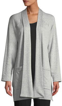 Eileen Fisher Shaw-Collar Open-Front Cotton-Fleece Kimono Cardigan, Petite