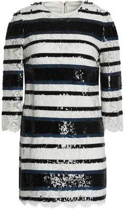 Dolce & Gabbana Striped Sequin-Embellished Corded Lace Mini Dress