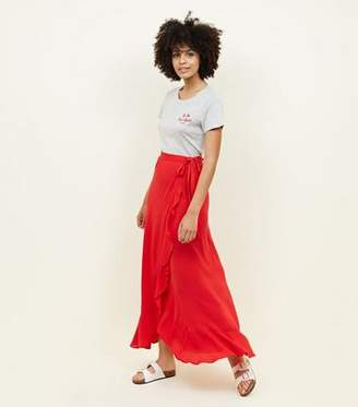 New Look Red Cheesecloth Maxi Wrap Skirt