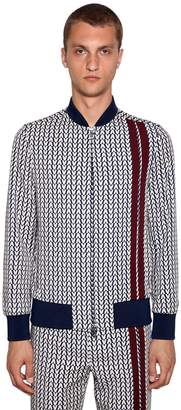 Valentino Optical Print Zip-Up Wool Jacket