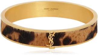 Saint Laurent Monogram Ponyskin Bangle Bracelet