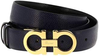 Salvatore Ferragamo Belt Gancini Buckle Belt Adjustable And Reversible In Genuine Score Leather