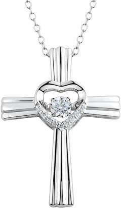 Floating Diamonluxe Floating DiamonLuxe 1/3 Carat T.W. Simulated Diamond Sterling Silver Heart Cross Pendant Necklace