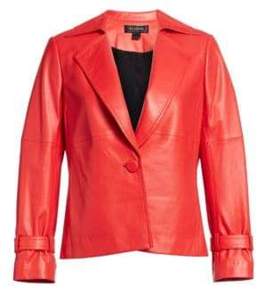 St. John Women's One-Button Leather Blazer - Crimson - Size 18