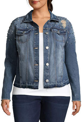 Boutique + + Embellished Denim Jacket - Plus