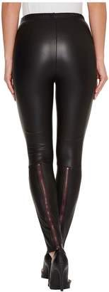 Plush Fleece-Lined Liquid Leggings with Contrast Zipper Women's Casual Pants