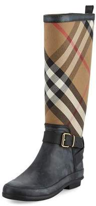 Burberry Simeon Check-Print Rain Boot, Black $325 thestylecure.com