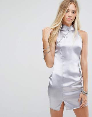 Sleeveless Shift Dress With High Neck In Satin - Dusty blue Glamorous aaou7Xj9