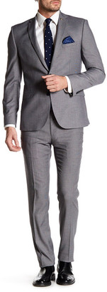 Nick Graham Grey Geo Pattern Two Button Notch Lapel Stretch Modern Fit Suit $395 thestylecure.com