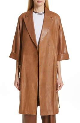 Brunello Cucinelli Rope Belt Nappa Leather Coat