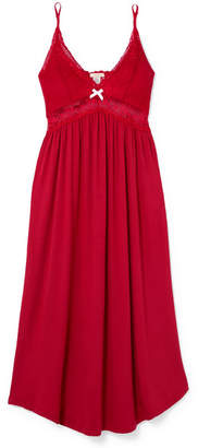 Eberjey Mademoiselle Lace-trimmed Stretch-modal Jersey Nightgown - Tomato red