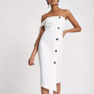 River Island Womens White tie sleeve button bandeau bodycon dress