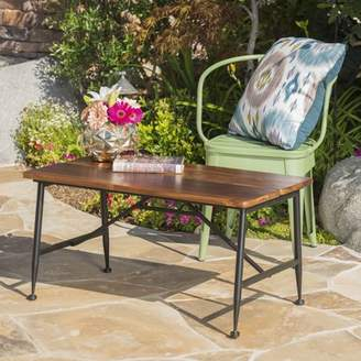 Noble House Cascada Outdoor Industrial Acacia Wood Coffee Table with Iron Accents, Antique Finish, Black
