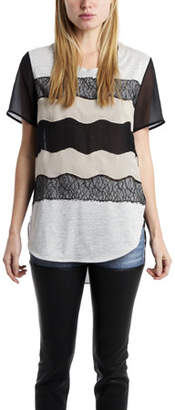 3.1 Phillip Lim Curved Hem Tee with Lace Applique