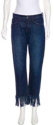 3x1 NYC Mid-Rise Fringe-Trimmed Jeans