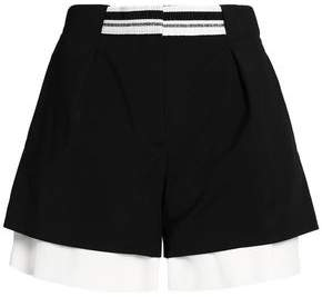 Layered Cotton-Blend And Crepe De Chine Shorts