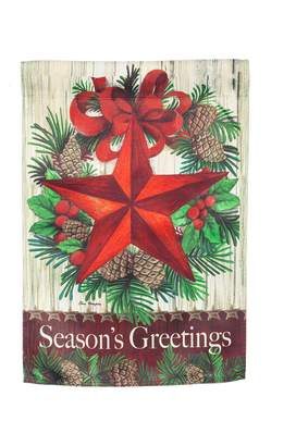 "Evergreen Season's Greetings"" Star Indoor / Outdoor Garden Flag"