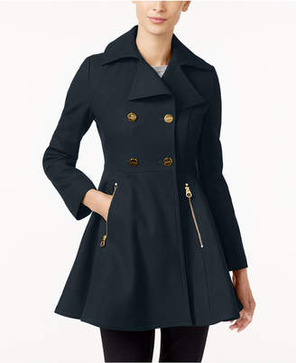 Laundry by Shelli Segal Double-Breasted Skirted Swing Coat