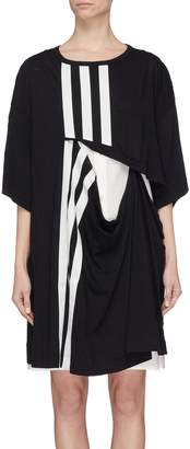 Y-3 3-Stripes cutout layered detchable long T-shirt dress