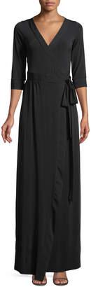 Melissa Masse 3/4 Sleeve Maxi Wrap Dress