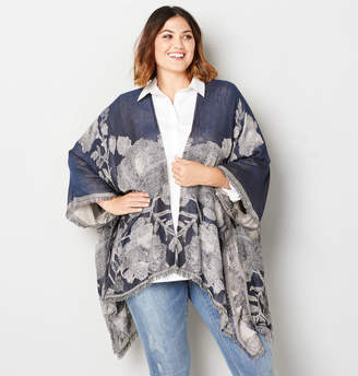 Avenue Navy Neutral Abstract Floral Ruana