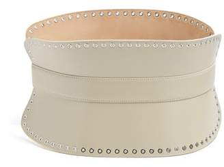 Alexander McQueen Grommet Embellished Leather Waist Belt - Womens - Beige