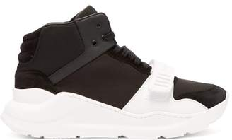 Burberry Regis Suede And Neoprene High Top Trainers - Womens - Black White