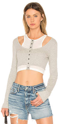 Alexander Wang Layered Mixed Media Crop Top