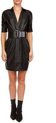 Elisabetta Franchi Celyn B. Faux Leather Wrap Dress
