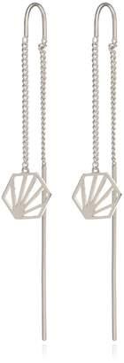 Rachel Jackson London - Hexagon Drop Earrings Silver
