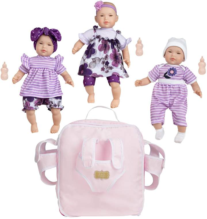 Fao Schwarz FAO Schwarz Baby Doll Triplets with Backpack Set