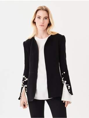 Oscar de la Renta Pearl-Embroidered Stretch-Wool Crepe Jacket