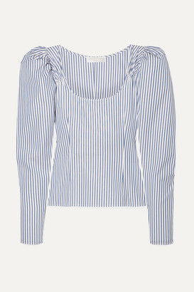 Caroline Constas Ariana Ruched Striped Cotton-poplin Top - Blue