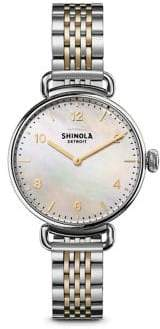 Shinola Canfield Mother-Of-Pearl& Two-Tone Stainless Steel Bracelet Watch
