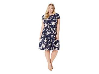 Tahari ASL Plus Size Short Sleeve Printed Scuba Dress