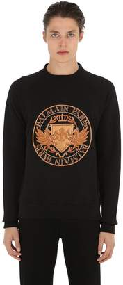 Balmain Embroidered Cotton Jersey Sweatshirt