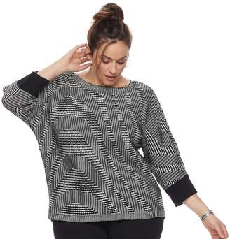 Dana Buchman Plus Size Wave Boatneck Sweater