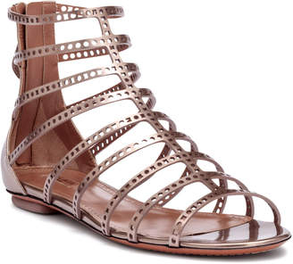 Alaia Metallic laser-cut leather sandals
