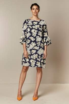 Wallis Womens Navy Daisy Print Double Flute Sleeve Dress - Blue