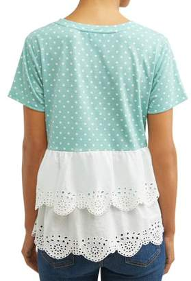 Concepts Women's Short Sleeve Top with Eyelet Back