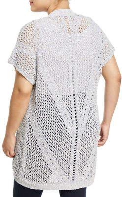 Bobeau Ysabel Crocheted Dolman-Sleeve Cardigan, Plus Size