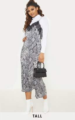 PrettyLittleThing Tall Grey Snake Print Satin Lace Trim Cami Midi Dress