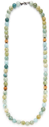 Armenta Aquamarine & Carved Wooden Bead Necklace