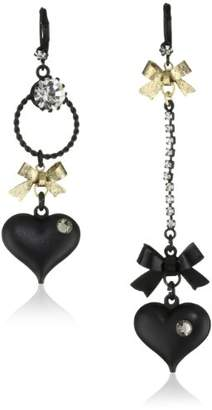 Betsey Johnson Mismatch Bubble Heart and Gold Bow Drop Earrings