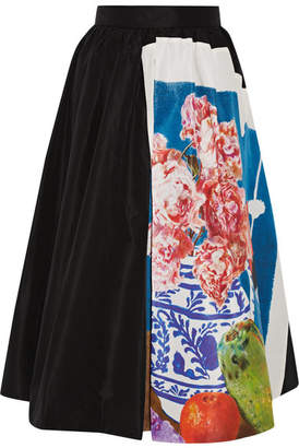 Prada Printed Silk-faille Midi Skirt