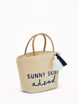 """Old Navy """"Sunny Skies Ahead"""" Straw Tote for Toddler Girls & Baby"""