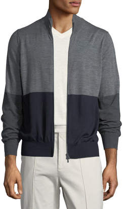 Brunello Cucinelli Men's Colorblock Zip-Front Wool Sweater