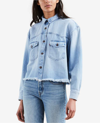 Levi's Addison Cotton Cropped Denim Shirt