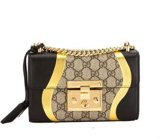 Gucci Black/Metallic Gold Leather GG Supreme Canvas Small Padlock Shoulder Bag (New with Tags)